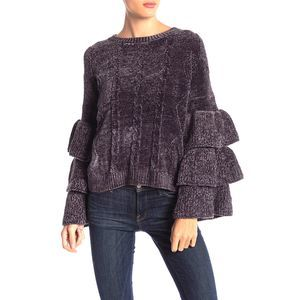 Elan Cropped Ruffle Sleeved Cable Knit Sweater